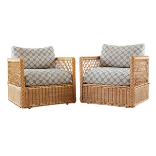 Pair of McGuire Rattan Wicker Lounge Chairs With Ottoman For Sale
