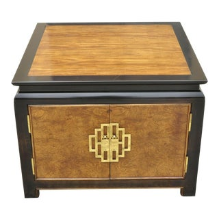 Century Furniture Chin Hua Burl Wood 2 Door Cabinet Square Occasional Table For Sale