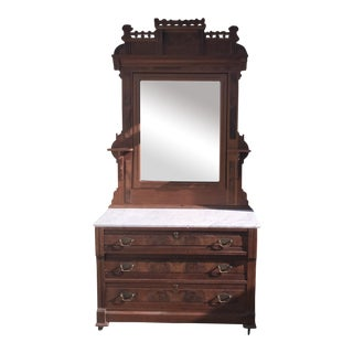Eastlake Mahogany Mirrored Marble Top Dresser