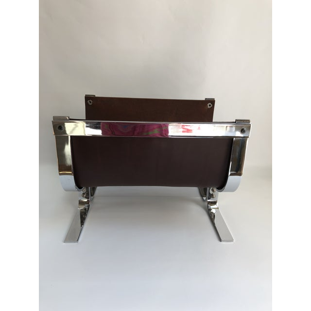 1970s Mid-Century Modern Danny Alessandro Chrome & Leather Log Holder or Magazine Rack For Sale - Image 5 of 11