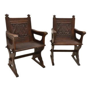 Antique American Renaissance Revival Carved Oak Chairs - Circa 1900 - a Pair For Sale