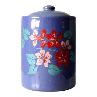 Vintage 1930s Hand Painted Cookie Jar For Sale