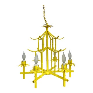 Mid-Century Italian Tole Faux Bamboo Pagoda Chandelier For Sale