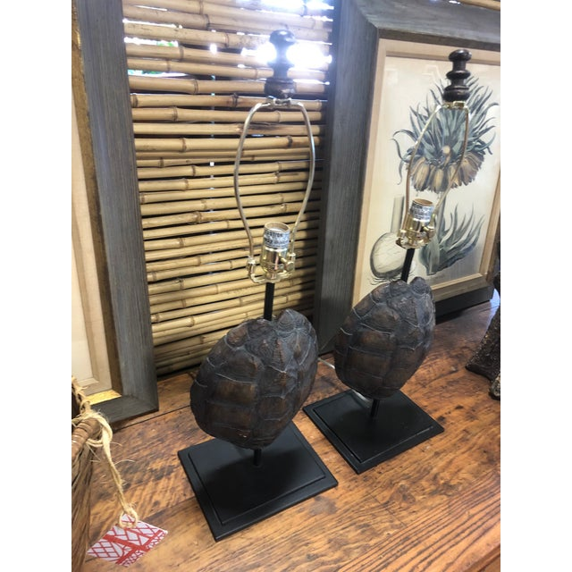 Metal Faux Turtle Shell Lamps- a Pair For Sale - Image 7 of 8