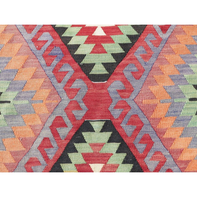 "Vintage Handwoven Turkish Kilim Rug - 6'4"" x 9'6"" - Image 7 of 8"