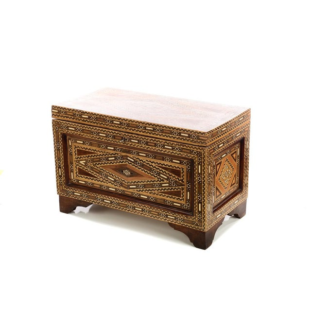 Beautiful Moroccan Inlaid Vintage Trunk Chest w/Geometric design size 27 x 14 x 18 Excellent - Minor wear consistent with...