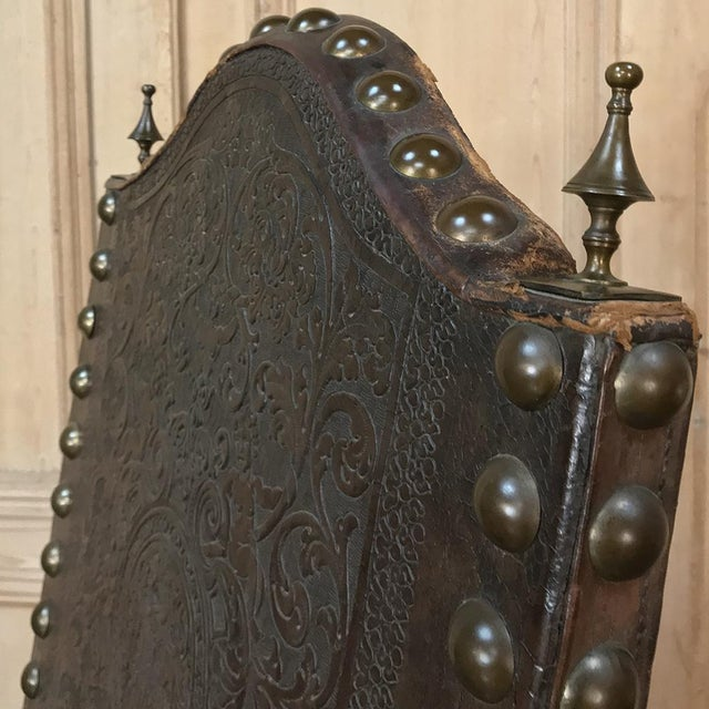 Gold 19th Century Spanish Embossed Leather Armchair For Sale - Image 8 of 13