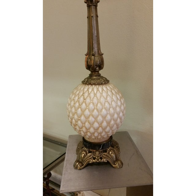 Hollywood Regency Glass Pineapple Lamp - Image 2 of 7
