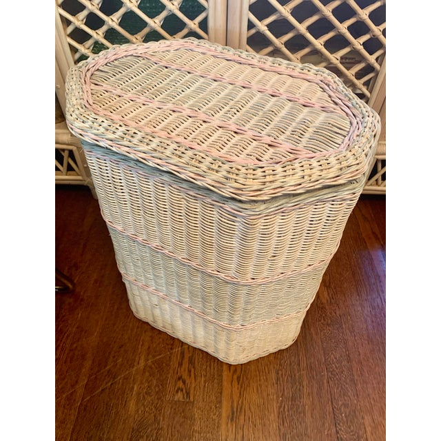 1960s White-Washed Natural, Pink and Mint Striped Octagonal Wicker Clothes Hamper With Braided Trim For Sale - Image 12 of 13