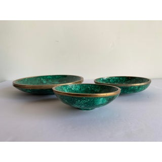 Trio of Malachite and Brass Bowls Preview
