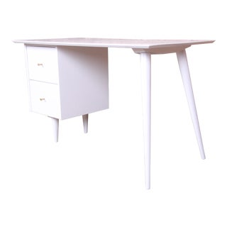 Paul McCobb Planner Group Mid-Century Modern White Lacquered Writing Desk, Newly Restored For Sale