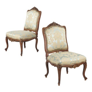 Antique Rococo Revival Walnut Side Chairs - A Pair For Sale