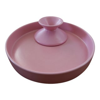 Pink Bauer Pottery Tray Low Dish & Candle Holder For Sale