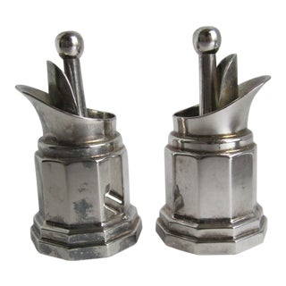 Vintage Italian Silverplate Bottle Stoppers - a Pair For Sale