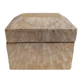 Vintage Boho Chic Capiz Shell Box For Sale
