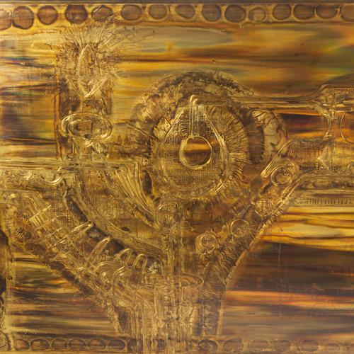 Brutalist LARGE ACID-ETCHED AND OXIDIZED BRASS PANEL BY BERNHARD ROHNE For Sale - Image 3 of 7