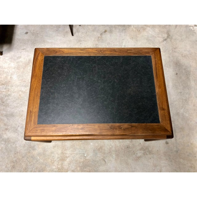 Mid Century Modern Walnut and Black Formica Side Table For Sale - Image 4 of 6