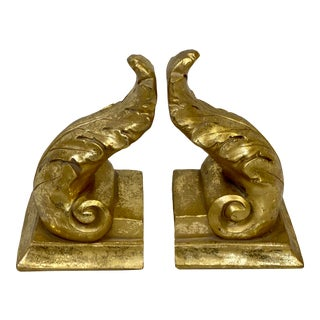 Vintage Giltwood Acanthus Leaf Bookends - Pair For Sale