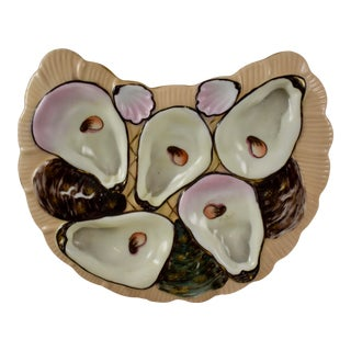 Porcelain Half Moon Salmon Oyster Plate For Sale