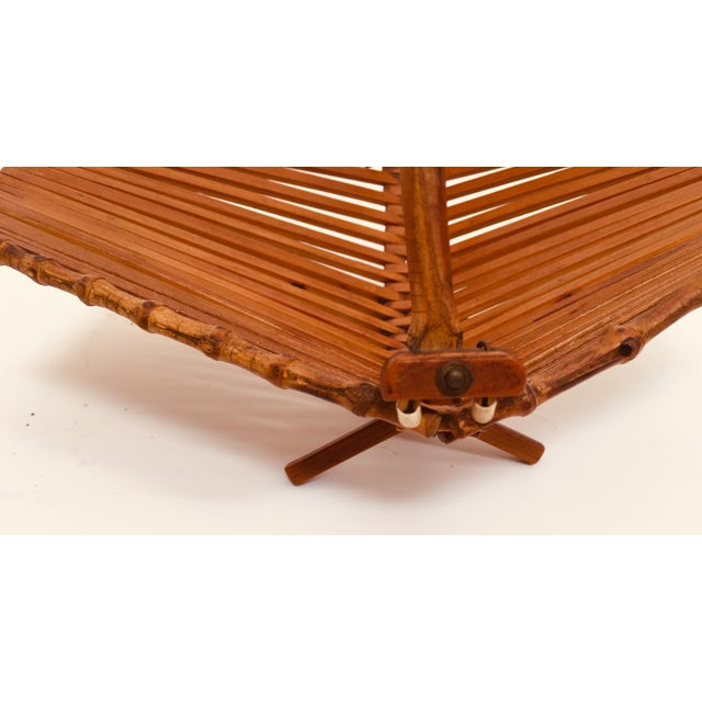 Japanese Mid Century Folding Bamboo Basket With Handle For Sale - Image 9 of 12