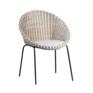 White Wash Rattan Dining Chair For Sale