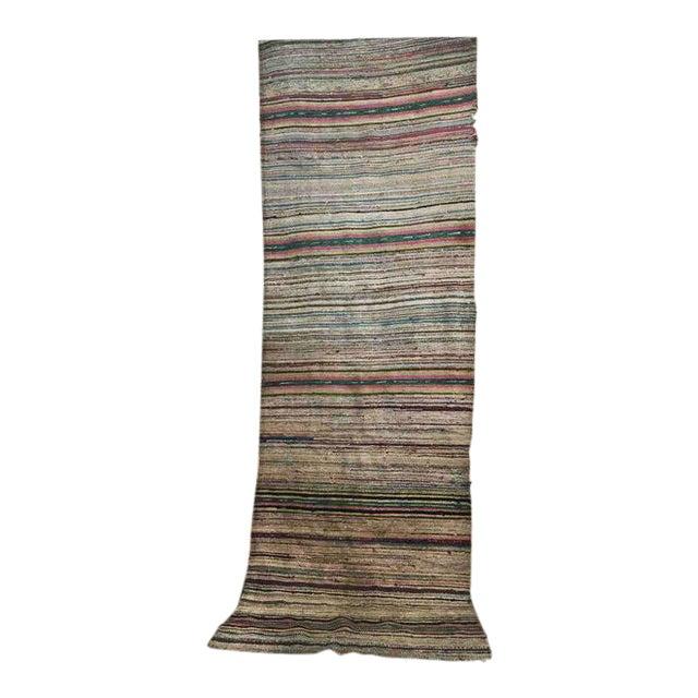 Antique Hand Woven Turkish Kilim Runner Rug - 3′3″ × 9′6″ - Image 1 of 11