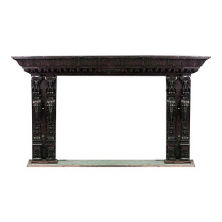 Renaissance Carved Walnut Caryatid Mantel For Sale