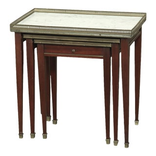 Set of Carrara Marble Top Directoire Style Mahogany Nesting Tables With Brass Rails For Sale