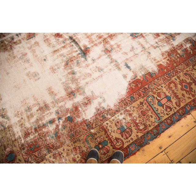 """Antique Distressed Heriz Carpet - 9'7"""" x 12'2"""" For Sale In New York - Image 6 of 7"""