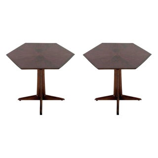 Drexel Hexagonal Pedestal Occasional Tables - a Pair For Sale