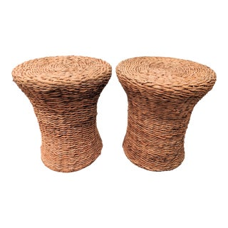 Modernist Woven Fiber Side Tables, a Pair For Sale