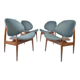 Four Kodawood Clam Shell Chairs by Seymour James Wiener For Sale