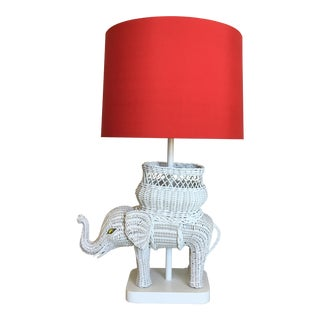 Hanson Wicker Elephant Lamp & Shade For Sale