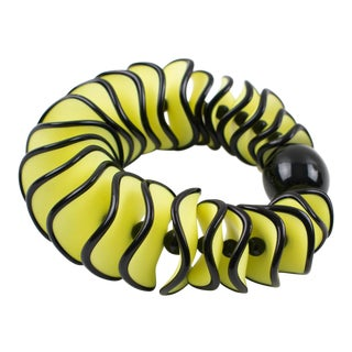 Angela Caputi Yellow and Black Resin Oversized Stretch Bracelet For Sale