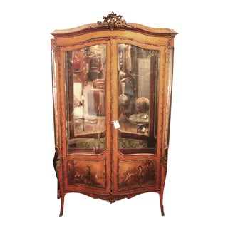 19th C. Vernis Martin French Double Door Vitrine For Sale