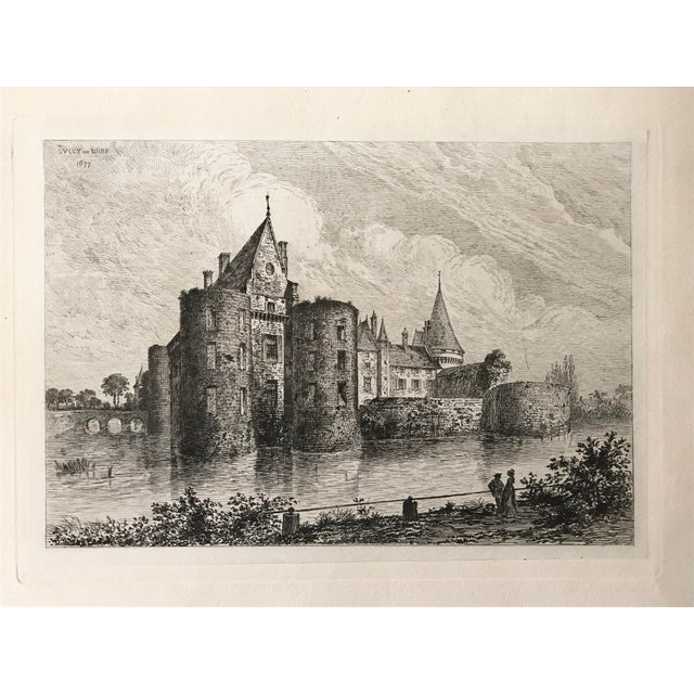 Antique engraving of the French Chateau Sully-sur-Loire, a castle in Loiret, France. Dated 1877 in plate. Matted,...
