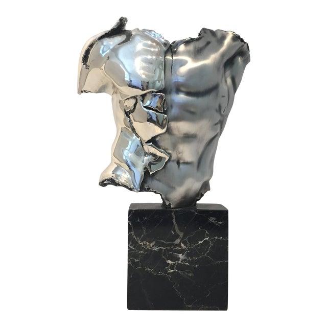 Male Torso Sculpture by Zanfeld Taxco 999 Silver-Plate Black Marble For Sale