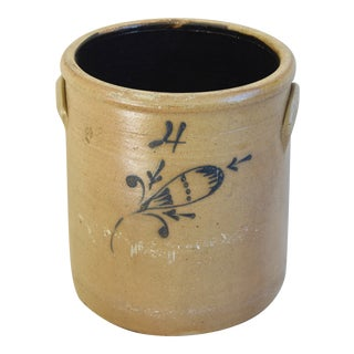 Antique Cobalt Blue Decorated Stoneware Crock With Floral Decoration For Sale