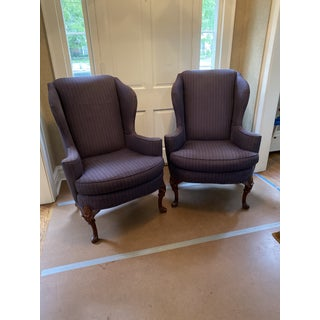 Mid-Century Upholstered Wing Back Chairs- a Pair Preview