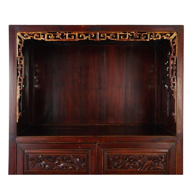 Asian Chinese Antique Carved Wan LI Display Cabinet For Sale - Image 3 of 11