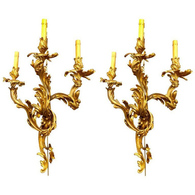 Louis XVI Style Bronze Three Light Gilt Bronze Sconces - a Pair For Sale - Image 10 of 11
