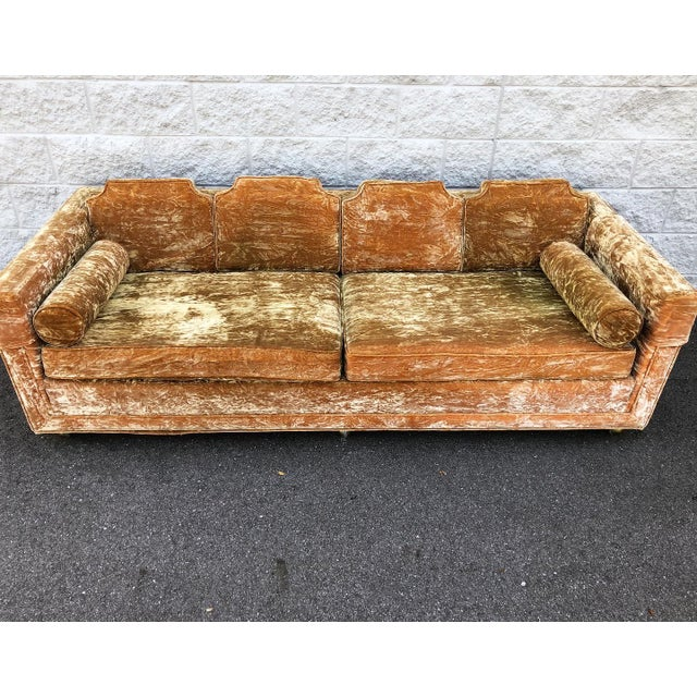 Mid-Century Modern Mid Century Gold Crushed Velvet Rolling Sofa For Sale - Image 3 of 11