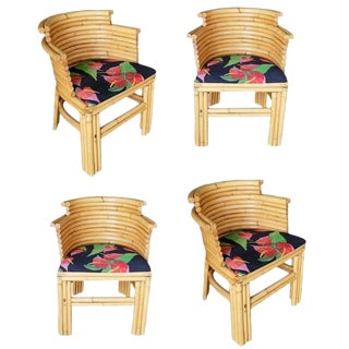 Restored Paul Frankl Streamlined Art Deco Rattan Dining Side Chair, Set of Four For Sale