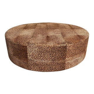 Monumental Vintage French Ottoman Coffee Table Leopard Leather 1910s For Sale