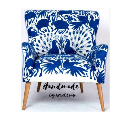 1960s Boho Chic Blue and White Embroidered Lounge Chair For Sale - Image 4 of 11