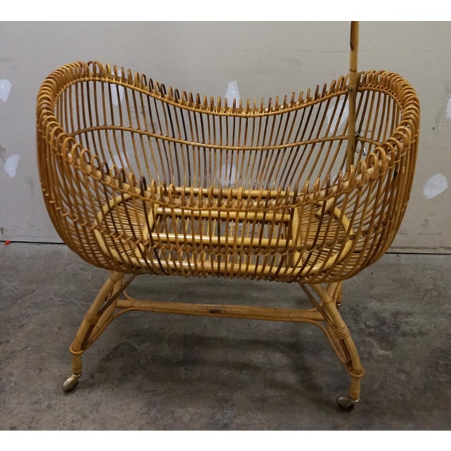 1950s Vintage Franco Albini Style Bamboo Cradle For Sale - Image 9 of 12