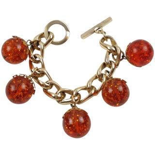 Orangeade Prystal Bakelite Bead Charm Bracelet With Gilt Aluminum Chain For Sale