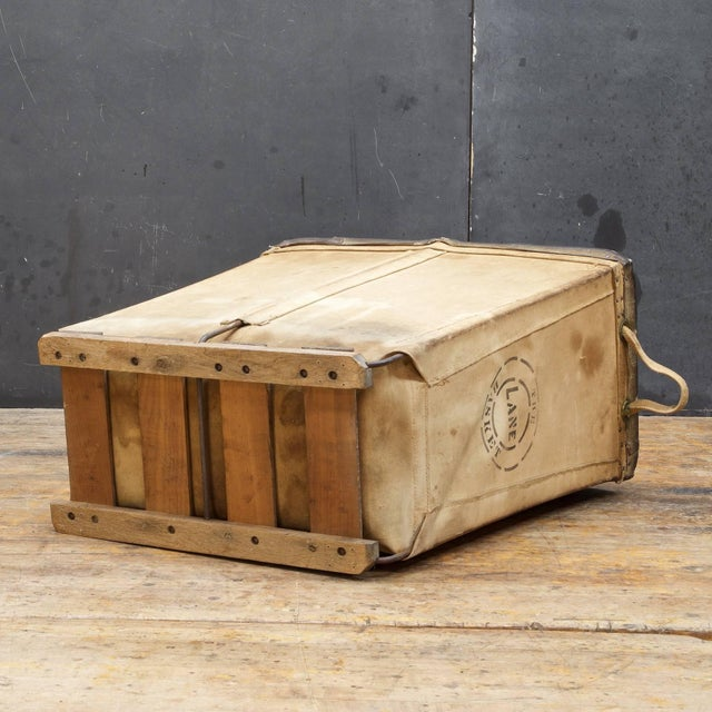 Vintage Petite 1940s Industrial Canvas Laundry Clothing Textile Bin Basket For Sale In Washington DC - Image 6 of 7