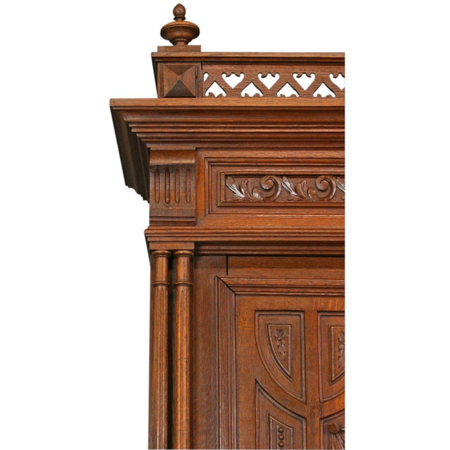 Antique Carved Oak French Henry II Hutch - Image 7 of 8