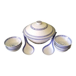 Chinese Floral Porcelain Translucent Rice Grain Large Rice/Soup Serving Pot With Large Serving Spoons and Serving Bowls - 11 Piece Set For Sale